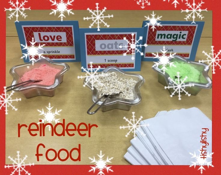 Reindeer food. Oats, green and red sugar. Printables available on the blog.  Click the photo to go direct.