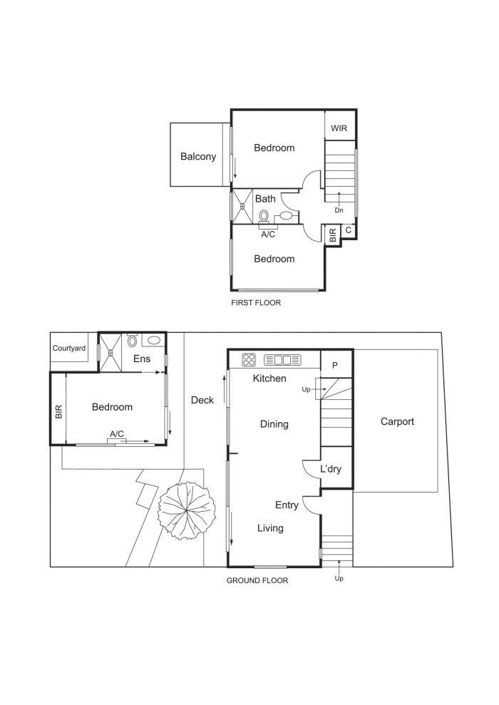 内側に開く中庭とウッドデッキの家の間取り図.gif
