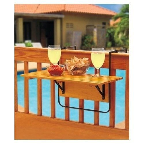 Folding Deck Table White or Natural  Great Outdoor Porch Deck Space Saver