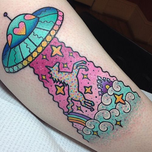 UFO Unicorn tattoo by Kelly McGrath