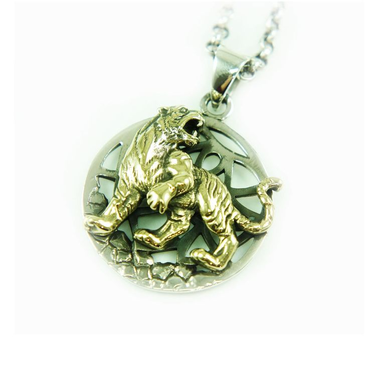 GOLDEN TIGER 925 STERLING SILVER MEN'S BIKER ROCKER PENDANT gb-171