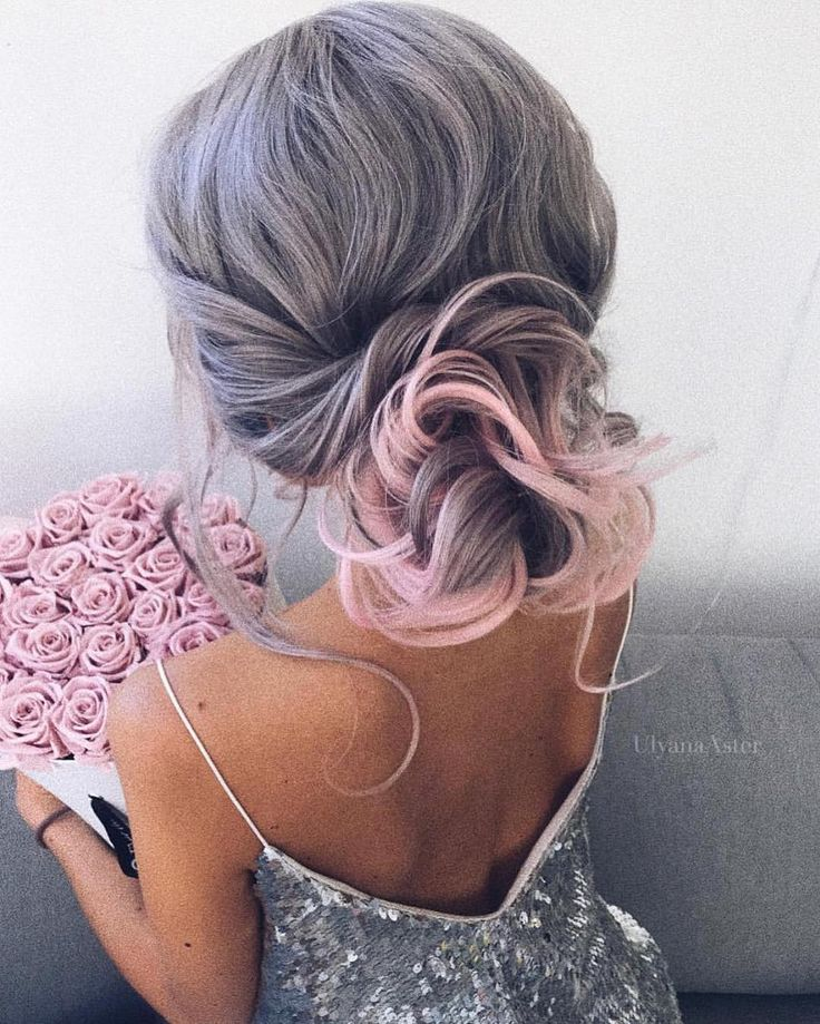 pastel pink | hair color | cotton candy | ombre | grey | silver | curly long hairstyle | bun | loose
