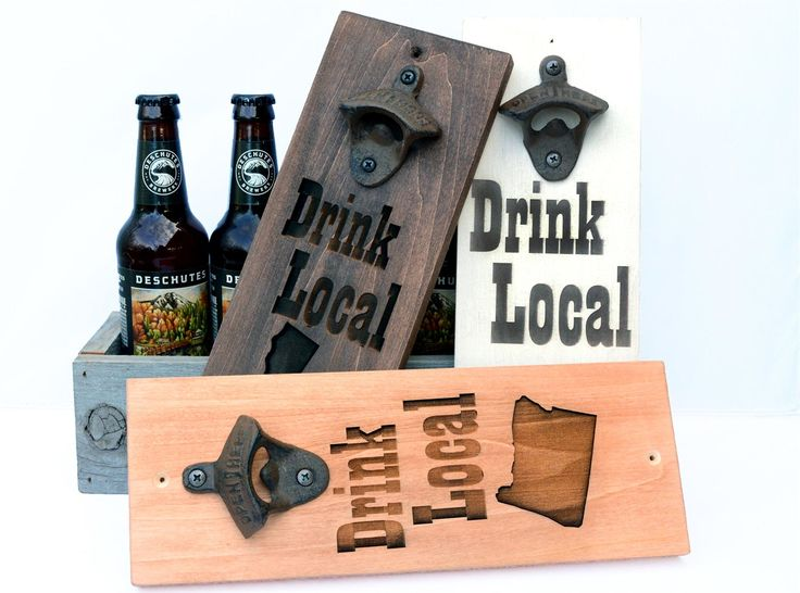 This listing is for (1) Wooden Beer Opener in your choice of 3 colors. Drink Local Wooden Beer Opener/Sign. Perfect gift for every special beer lover in your life! Choose your US state for a personalized beer opener/sign that anyone would love. We laser engrave all the details, resulting a unique high end rustic beer opener/sign.  This is approx. 13.5 inches tall by 4.5 inches wide. Please type in your state in the personalization box when checking out.  Comes with pre-drilled ...