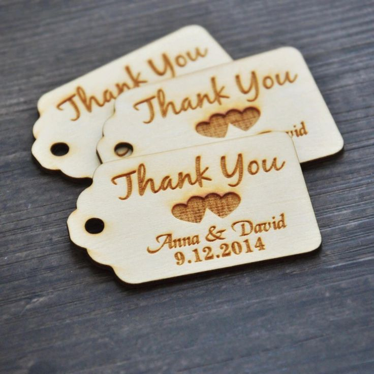 50 piece Customised wooden thankyou tags