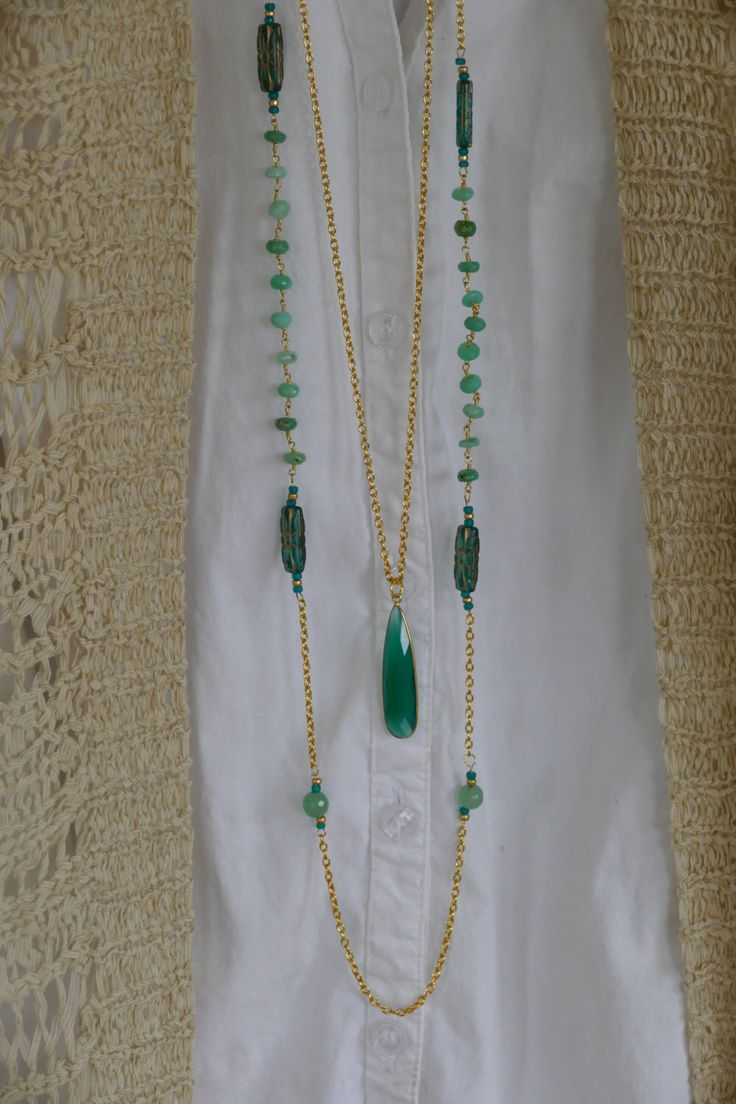 Teal Green Rosary Bead Necklace, Boho Rosary Necklace, Long Boho Necklace, Boho Double Strand Necklace, Rosary Style, Rosary Gem Necklace by BaysideBlissDesigns on Etsy https://www.etsy.com/listing/504744507/teal-green-rosary-bead-necklace-boho