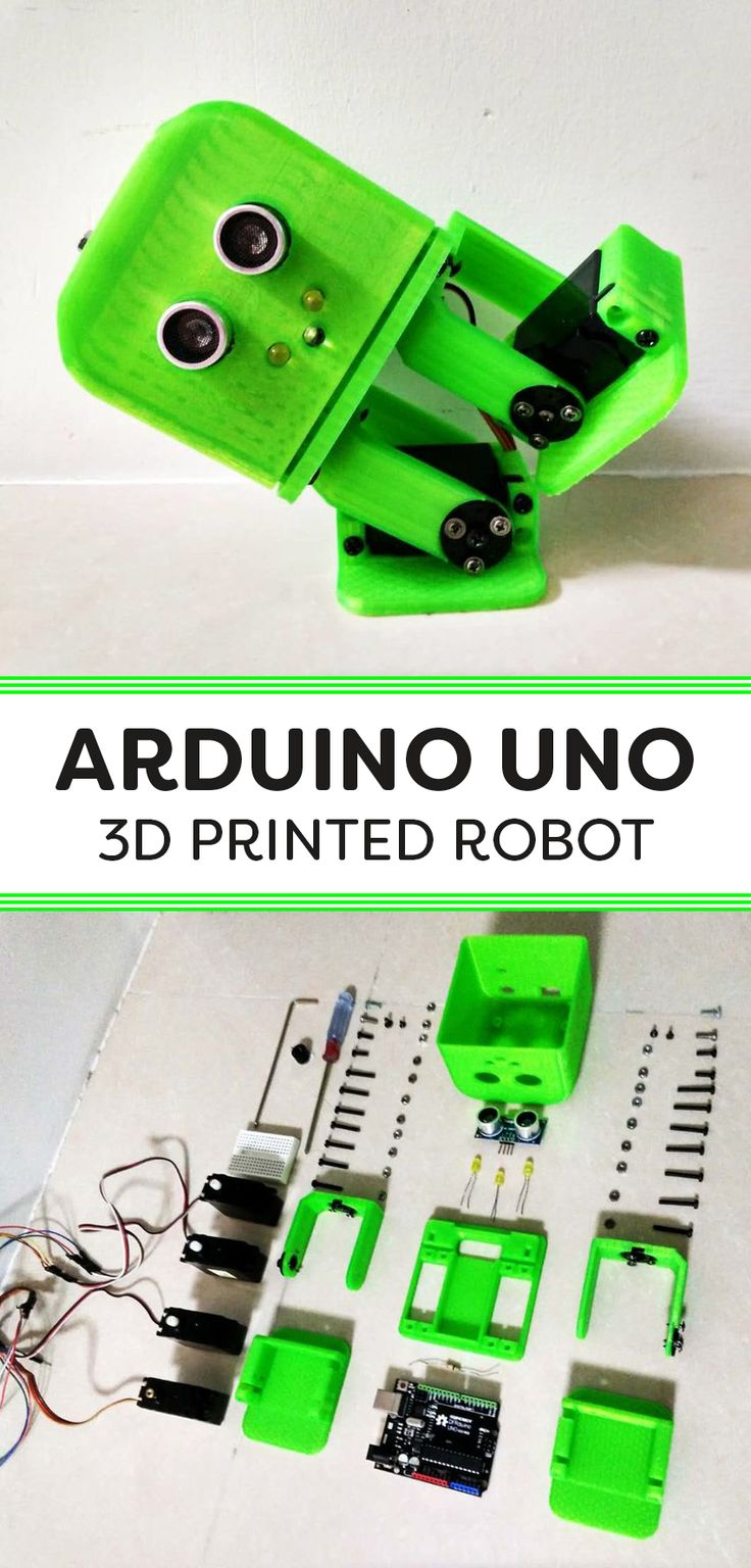 Build an adorable robot with Arduino Uno and 3D printed parts.