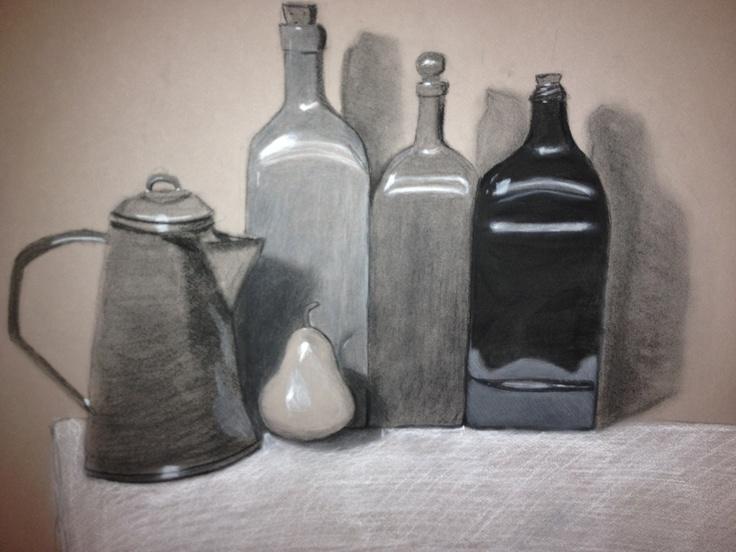 Still-life charcoal/pastel