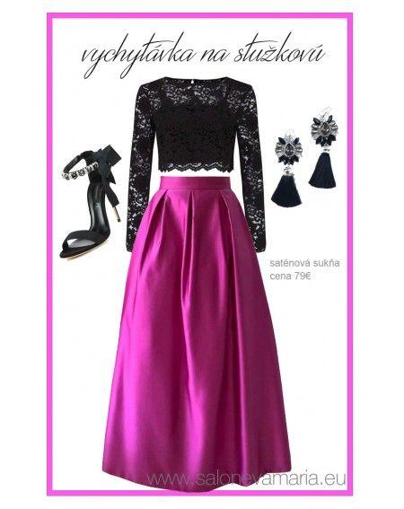 Ružová saténová sukňa na stužkovú