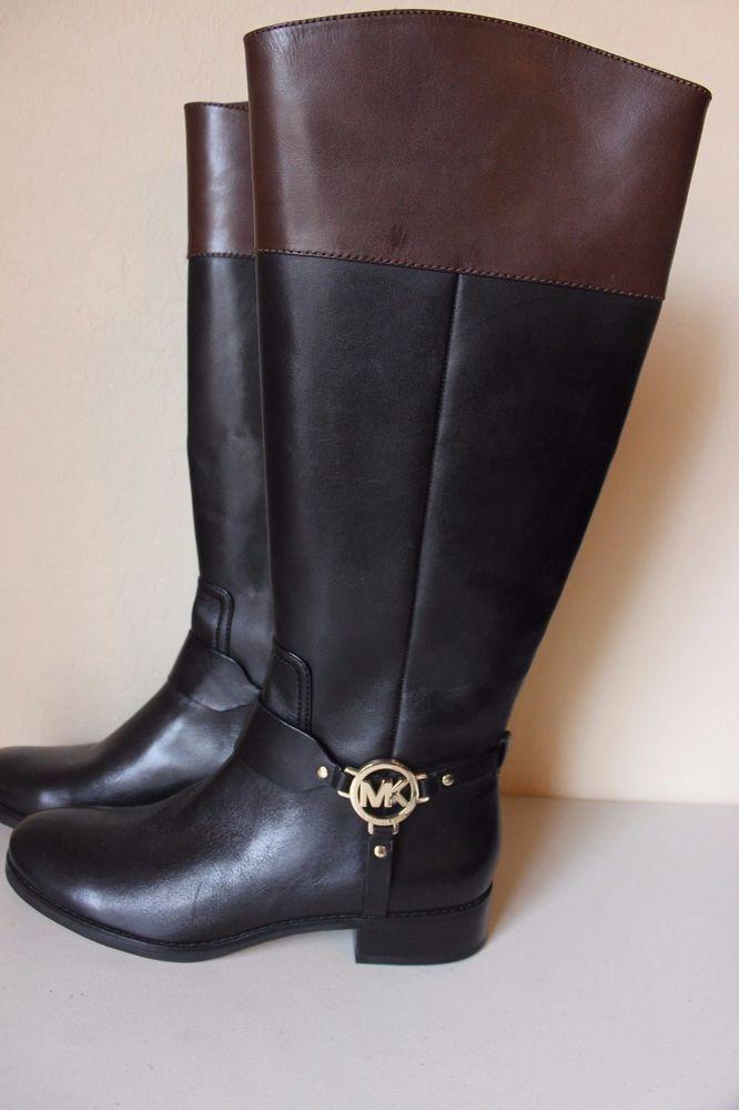 michael kors fulton leather boots black brown