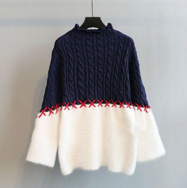 レディース3色 ニットセーター もこもこ 切替配色