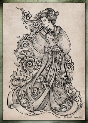 This Drawing of a Japanese Geisha as a Tattoo
