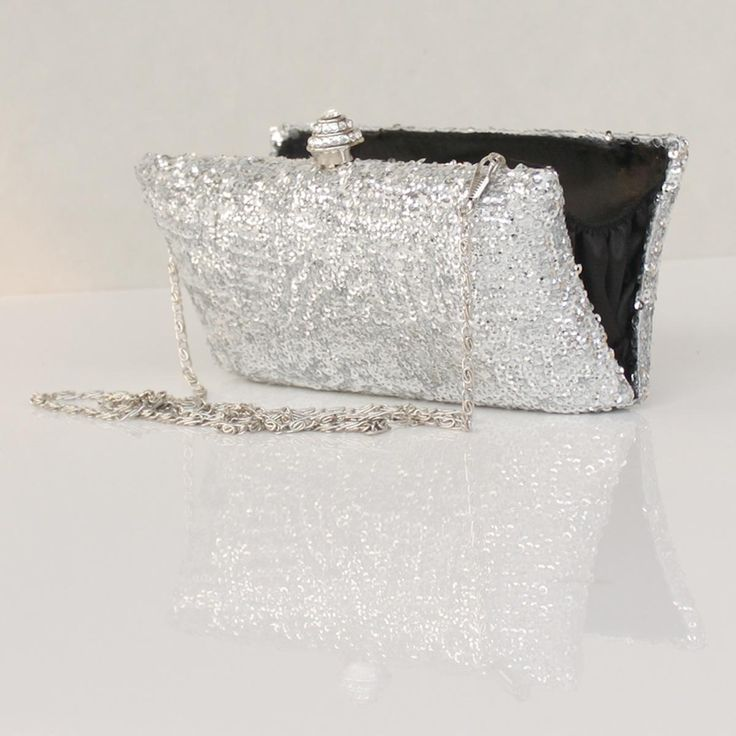 Mini Metallic Clutch in Silver