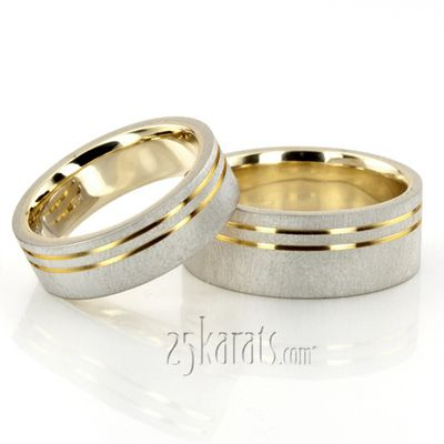 modern parallel cut two tone wedding ring set - Two Tone Wedding Rings