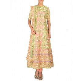 Peach and Pistachio Green Suit with Gota Work