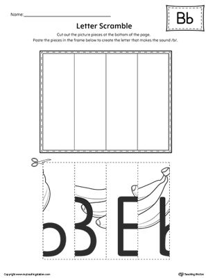 **FREE** Letter B Scramble Worksheet. Practice recognizing the uppercase and lowercase letter B shape along with it's beginning sound in this printable worksheet.