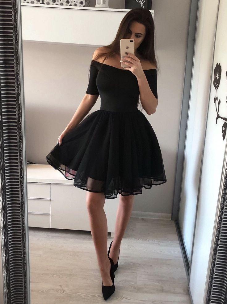 A Line Off the Shoulder Black Homecoming Dresses Chic Little Black Dress ARD1730