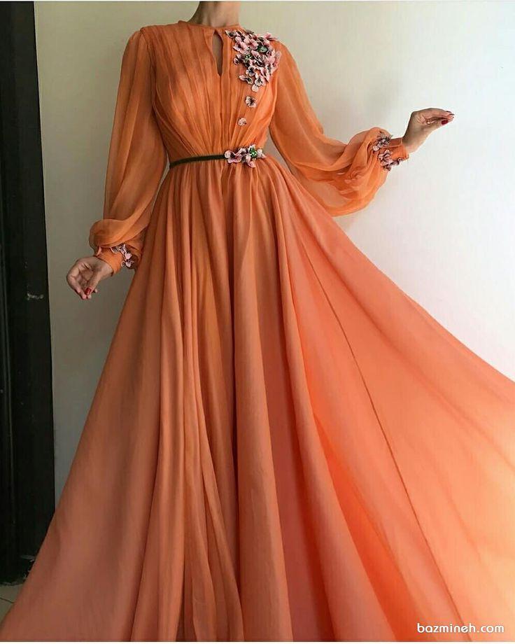 Orange Langarmhemd mit Puffärmeln ...