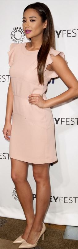 Who made  Shay Mitchell's ruffle dress and nude pumps that she wore in Hollywood on March 16, 2014?