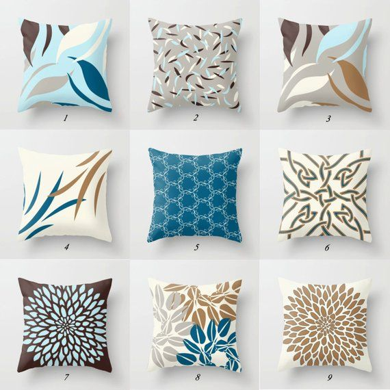 Blue Brown Pillow Covers Decorative Pillow Case Mix Match Etsy Brown Decorative Pillows Blue Throw Pillows Decorative Pillow Cases