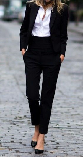 The ultimate business black suit and shirt look,  perfect for any busy working day #fashion #trends