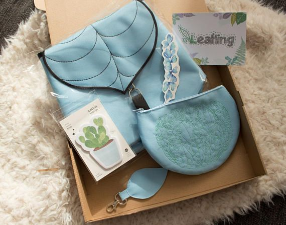 Pastel Blue Leaf Gift Box  Woodland Gift Box  Birthday Gift