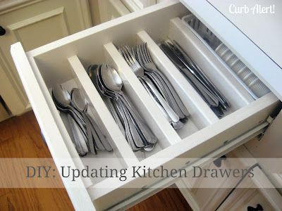 Curb Alert!: Organizing Chaos {Updating Kitchen Drawers} - boy does my husband have a project coming! I want all my drawers to look this nice! (thankfully we only have 3 that will need done!)