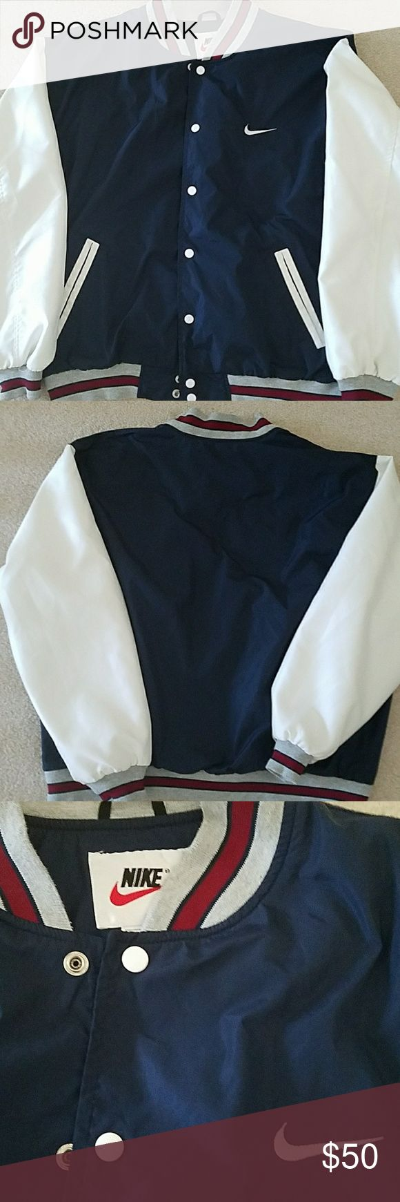 """Nike Mens Varsity Jacket Navy/White Windbreaker Nike Men's Varsity Windbreaker Jacket  Press stud closure.  Cuffs and waistband with stripe details and contrast sleeves.   Pit to Pit 27""""  Clean and ready to wear Nike Jackets & Coats Bomber & Varsity"""