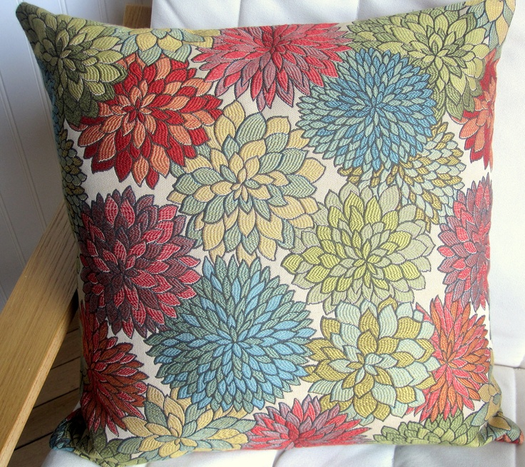 Woven Decorative Pillow Cover 20x20 Multi Colored Floral