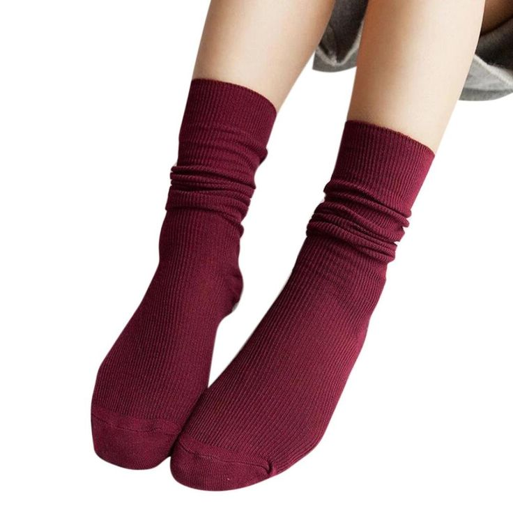 Kemilove Fashion Girls Womens Soft knitting Socks Casual Cotton Middle Tube Socks (Wine). Non Slip soles, Machine washable, air dry. Sweat, shaping, deodorant, anti friction, air permeability. Hygienic alternative to bare feet. Size:Free Size ; Material:Cotton. 100% brand new and high quality.