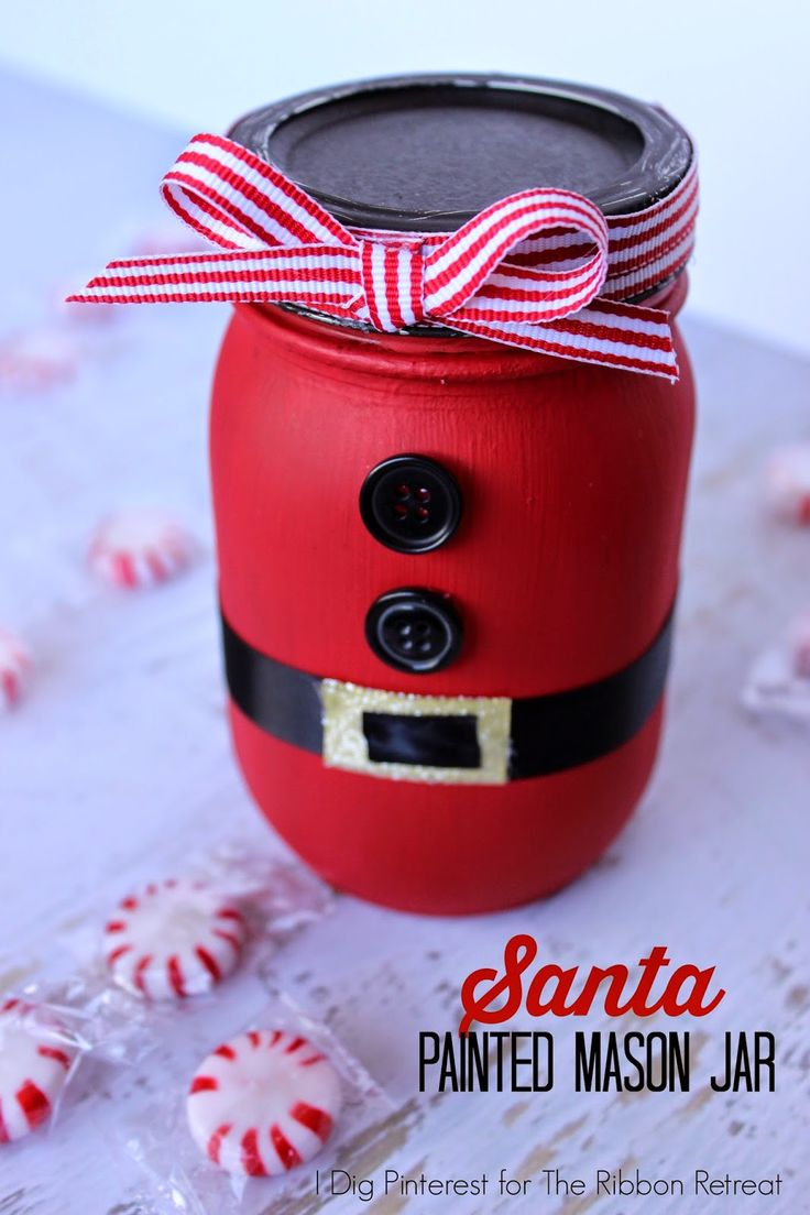 I Dig Pinterest: Santa Painted Mason Jar Neighbor Gift - fill it full of homemade goodies and give away as a fun gift.