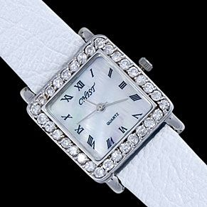 Silver watch, decorated with white zircons. Very elegant and trendy.