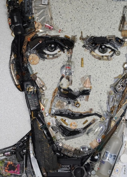 Junk art, Nicholas Cage portrait by Jason Mecier