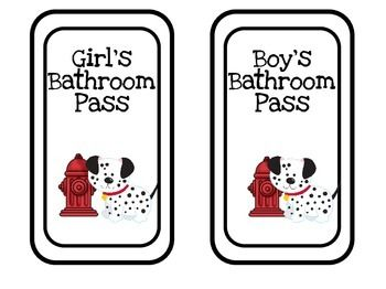 Boys and Girls Bathroom Passes (x2)Home Base for Hand Sanitizer Bottles