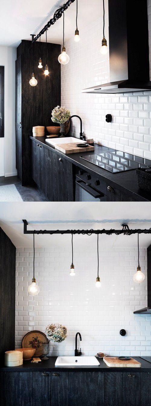 Schöne Küchenbeleuchtung, alte und neue Lampen mischen sich. Sköna Hem. #kuchenbe