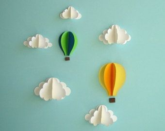 Etsy の Birds and Clouds 3D Paper Wall Art/ Wall by goshandgolly