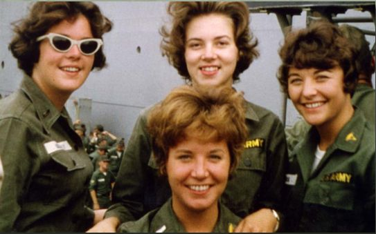 Army nurses, assigned to the 85th Evacuation Hospital in Qui Nhon, arrive in Vietnam aboard the transport ship USNS Barrett, September 1, 1965. Front: First Lieutenant Joan Schwerman. Back row, left to right: First Lieutenants Kathleen Gilluly, Sharon Forman (later Bystran), and Mary Rum (later Caspers). Sharon (Forman) Bystran Collection, Women's Memorial Foundation Collection