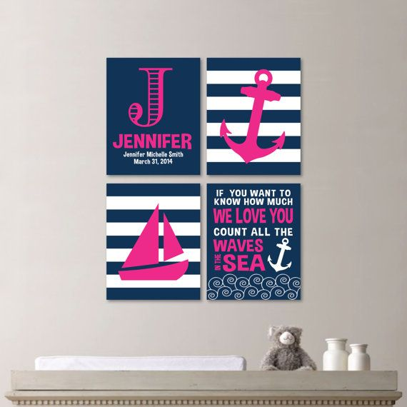 Baby Girl Nursery Art - Nautical Nursery Decor - Nautical Nursery Print -Nautical Nursery Art -Navy White Pink - You Pick the Size - NS-531
