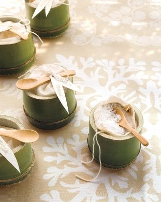"""Tropical Favors: Say """"mahalo"""" to guests—that's """"thank-you"""" in Hawaiian—with bags of sea salt in cut bamboo cups. Top each with a mini wooden spoon and a grateful tag."""