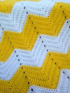 Crochet Ripple   Pattern     With A, ch 139.     Row 1 (RS): Sc in 2nd ch from hook and in each of next 9 ch (10sc total), 3 sc in next ch, *1 sc in each ...