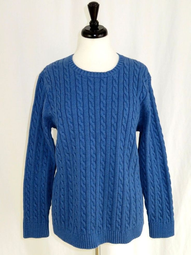 a2f118f9204 LL Bean 3X Sweater Cotton Cable Knit Crew Neck Blue Long Sleeves  LLBean   Crewneck  Work