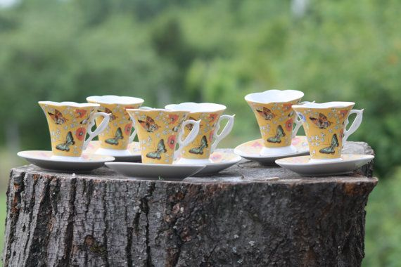 Butterfly Tea Set Asian Tea Set Japanese Tea Set Chinese by Diamir