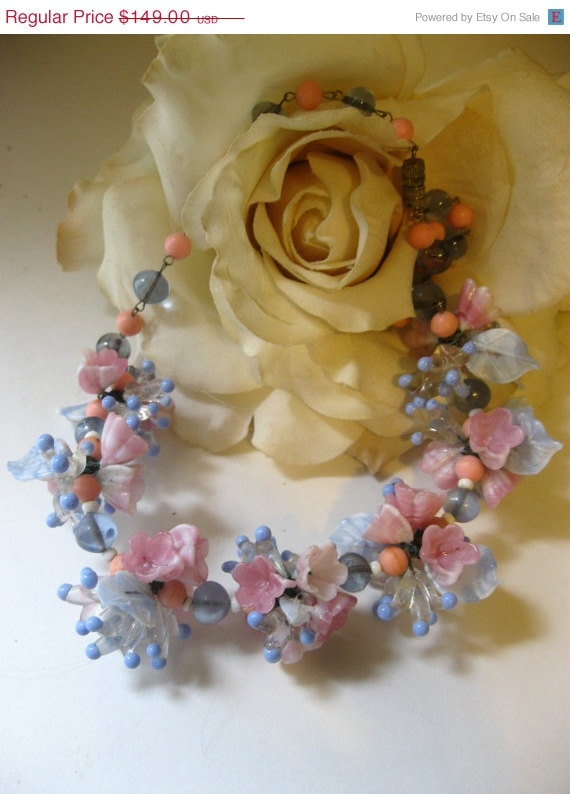 You vintage glass flower beads you thanks