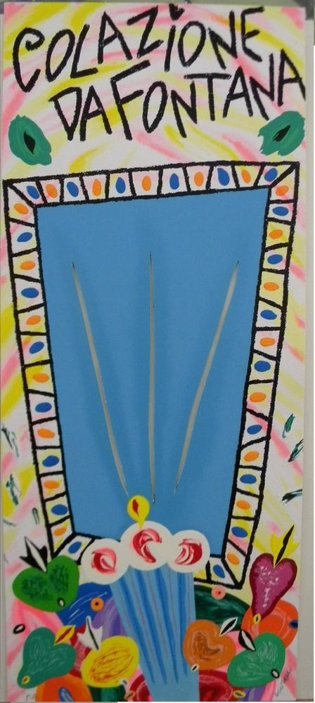 DONZELLI BRUNO - Colazione da Fontana Celeste - Serigrafia Polimaterica - 30x71