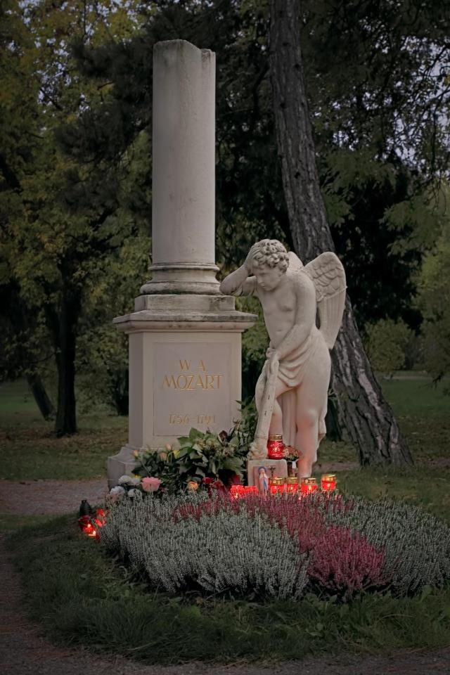 Mozart's grave in Vienna, Austia.  We went across the entire city of Vienna to visit both cemeteries that had Mozart's and Beethoven's graves.