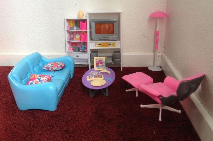 Barbie Playhouse Size Furniture Set Dollhouse Toys Girls Room TV Couch Ottoman #BarbiePlayhouseSize
