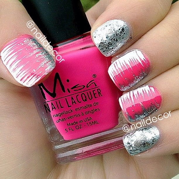 bright pink silver streaks  1. Paint nail pink 2. use thin paint brush (eye line brush) to get silver streak affect.