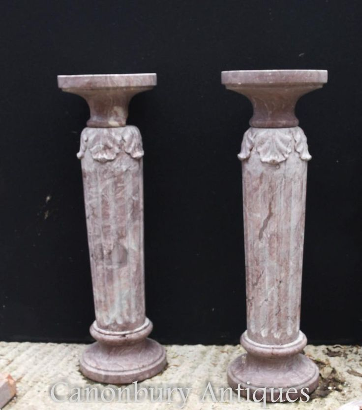 Pair French Classical Marble Column Pedestal Table…