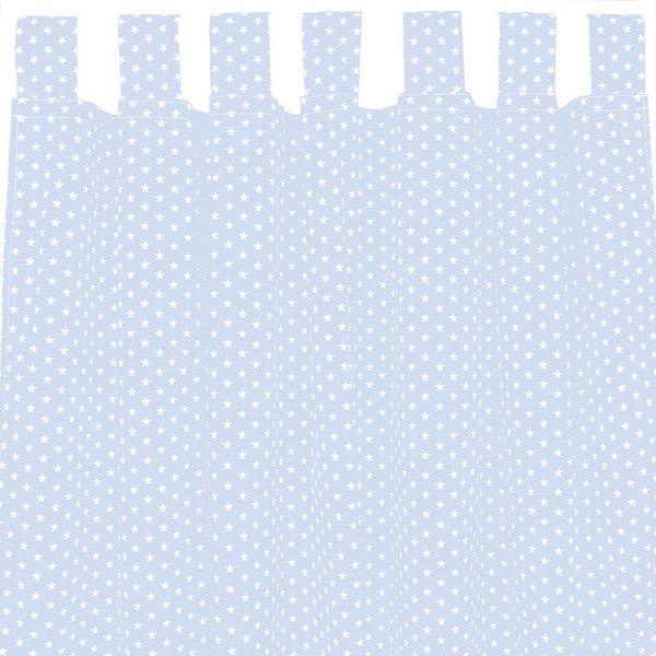 Gardinen - Set Vorhang Gardine mit Schlaufen hellblau Sterne  - ein Designerstück von Sugarapple bei DaWanda