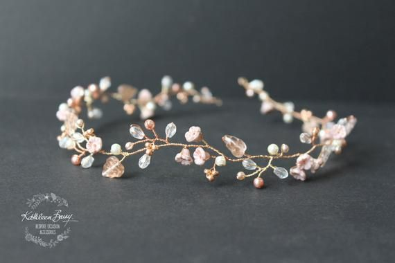 Dainty Rose gold hair vine headband or wreath with blush pink and champagne STYLE: Zoe