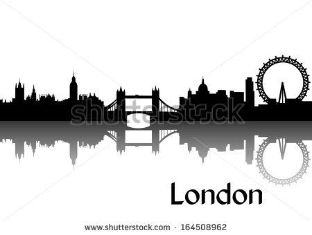 Vector illustration of black silhouette of London skyline, the capital of Great Britain - stock vector